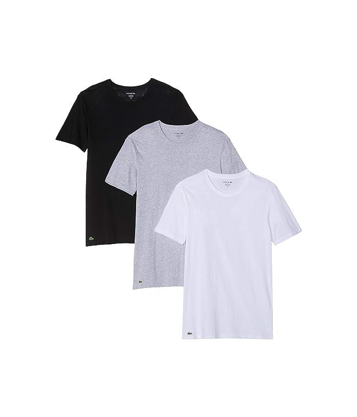 3c66ae50 Lacoste Essentials 3-Pack Classic Fit Crew Neck Tee (Black/Grey/White)  Men's T Shirt