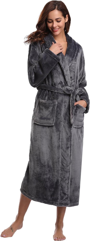 Aibrou Cl/ásico Unisex Albornoz Mujer Ducha Invierno del 100/% poli/éster,Suave Comodo y Agradable para Hombre Mujer