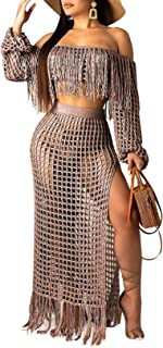Hollow Out Fringe Cover Up Skirt Set - 2 Pieces Outfits Seee Through Off Shoulder Crop top and Skirt