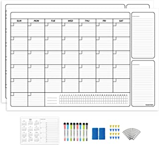 $33 » YOUNGTION Dry Erase Wall Calendar 2 Pack, 36 x 48 Inches Undated Monthly Erasable Jumbo Wall Planner, Premium PET Film & Habit Tracking Grid, with Accessories