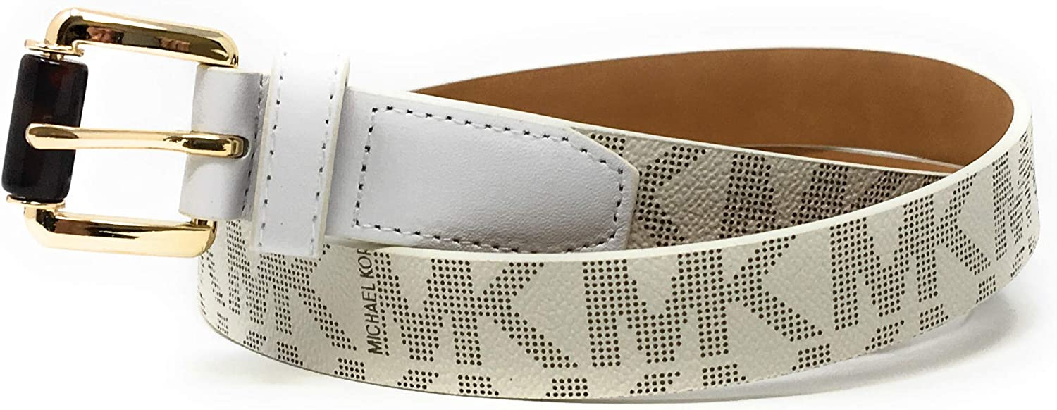 Spring new work one after another Michael Kors Women's Logo Monogram Buckle Belt Limited price sale Goldtone Be Ivory