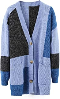 Howely Women's V-Neck Simple Sweater Tops Outwear Knit Color Block Cardigan