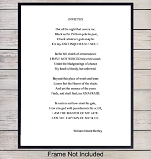 Invictus Poem Wall Art Print Typography - 8x10 Unframed Photo - Makes a Great Gift for Home Decor