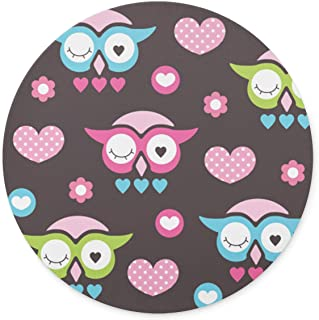 Newing Cute owl Love and Flower Mouse pad, Natural Rubber Round Mouse Pad, Quality Creative Wrist-Protected Wristbands Personalized Desk, Round Mouse Pad