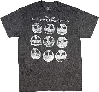 Tim Burton's The Nightmare Before Christmas Jack Skellington Distressed Faces Men's T-Shirt