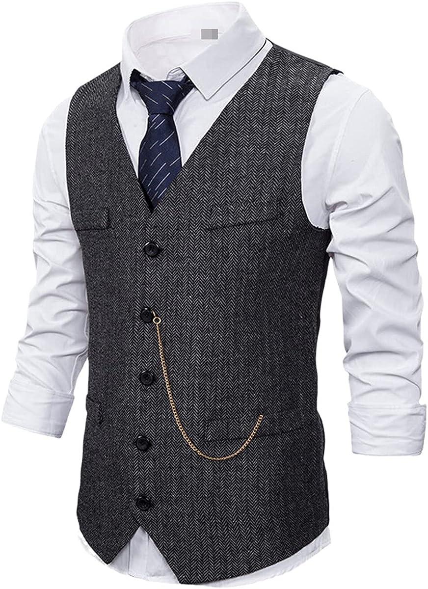 Formal men's suit vest casual chain solid color business tweed vest vest wedding best man