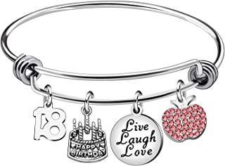 13th 18th 21st 30th 40th 50th 60th Birthday Gifts for Women Girls Adjustable Bracelet Bangle Stainless Steel Jewelry
