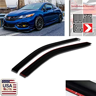 VITO 2pcs Side Window Deflectors Original Window Visors for 2012-2015 Honda Civic Coupe 2 Door Vent Visor Sun/Rain Guard