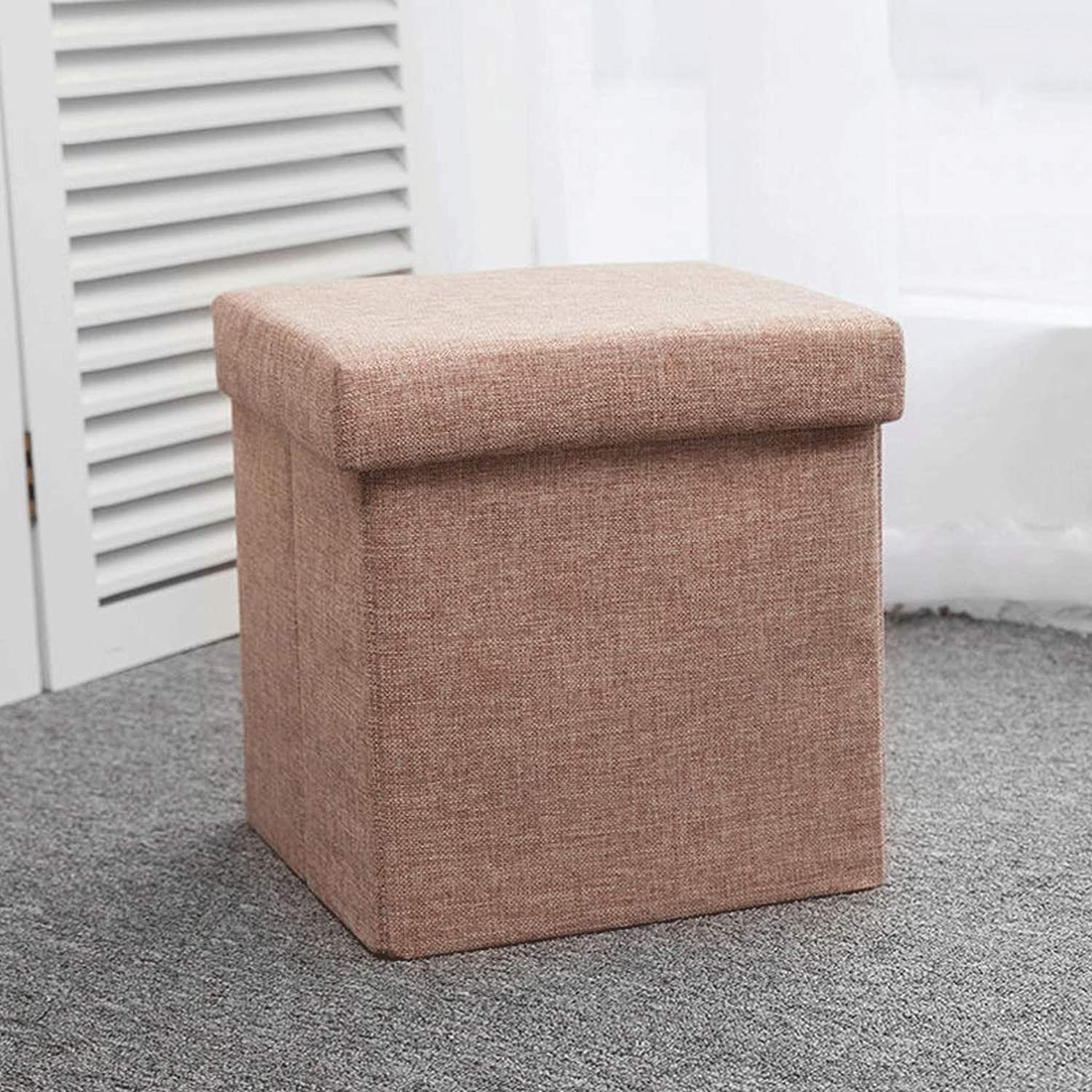 Storage Chest Space Saving Stool Box Folding Stool Footrest (color   Brown, Size   Square)