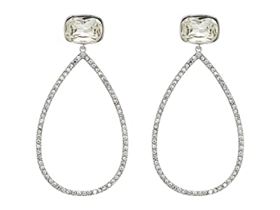 Nina Large Open Teardrop Pave Earrings (Rhodium/White Crystal) Earring