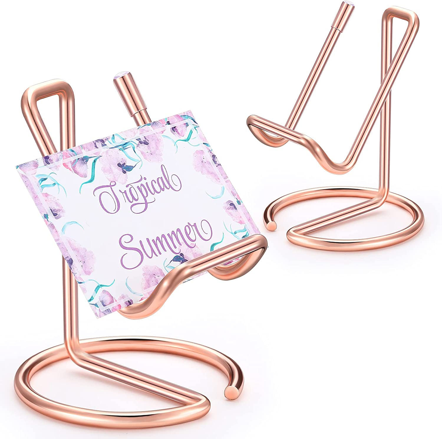 2 Pieces Metal Business Card Holder for Desk, Cell Phone Stand, Elegant Line Business Card Display Holder Stand, Office Desktop Business Name Card Organizer (Rose Gold)