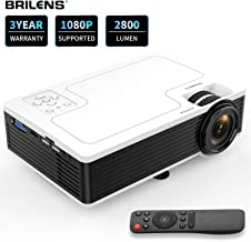 Movie Projector BRILENS Full HD 1080P Mini Projector LED Portable Home Theater Indoor Outdoor Compatible with HDMI USB VGA AV TV TF 30,000 Hours for Cinema Laptop Game 300