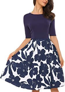 Mixfeer Women's Vintage Midi Dress Floral Scoop Neck Long Sleeve A-line Cocktail Party Swing Dress with Pockets