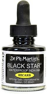 Dr. Ph. Martin's Black Star Waterproof India Ink Hi-Carb 1 oz. [PACK OF 2 ]