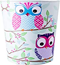 XSHION 2.64 Gallon /10 L Wastebasket,Owl Pattern Round Trash Can Waterproof Leather Garbage Can Trash Bin Waste Bin Without Lid for Living Room Bedroom - Type 4