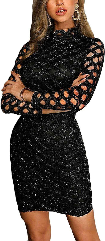 MOMTUESDAYS2 Women's Sexy Mesh See Through Bodycon Clubwear Dress (M, D-Black 2)