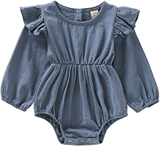 Baby Girls Romper Bodysuit Jumpsuit Solid Color Long Sleeve Ruffled Lace Floral Newborn Autumn Outfit