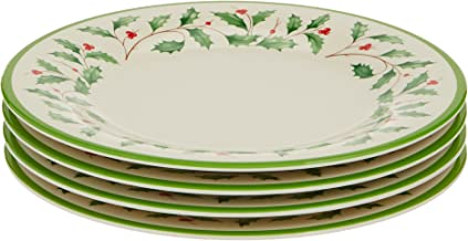 Lenox Holiday 4-Piece Melamine Accent Plate Set Red & Green, 1.50 LB
