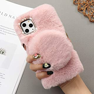 L-FADNUT for iPhone 12/iPhone 12 Pro Case Soft Plush Case with Detachable Makeup Mirror Warm Cute Cover for Girls Women Lu...