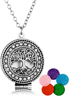 HOUSWEETY Aromatherapy Essential Oil Diffuser Necklace - Tree of Life Locket Pendant,5 Colorful Pads (Silver)