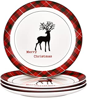 Christmas Dinner Plates Set, Christmas Plate Set with Christmas Plaid and Reindeer, Porcelain Plate Set of 4 for Christmas Xmas