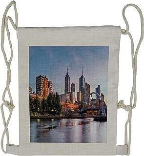 Ambesonne City Drawstring Backpack, Morning Australia River, Sackpack Bag