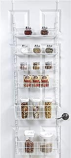 Smart Design Over The Door Adjustable Pantry Organizer Rack w/ 6 Adjustable Shelves - Large 58 Inch - Steel Construction w/ Hooks & Screws - for Cans, Food, Misc. Item - Kitchen [White]