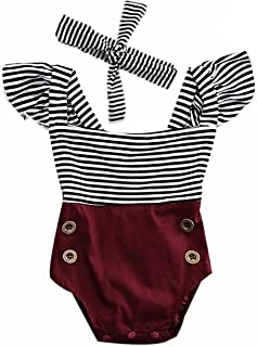 2Bunnies Newborn Toddler Baby Girl Striped Romper Bodysuit+Headband Sunsuit Outfit Set