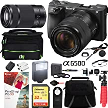 Sony a6500 4K Mirrorless Camera with 18-135mm & 55-210mm Lens (Black) ILCE-6500M/B with Carry Case 32GB SDHC Memory Card Pro Photography Bundle
