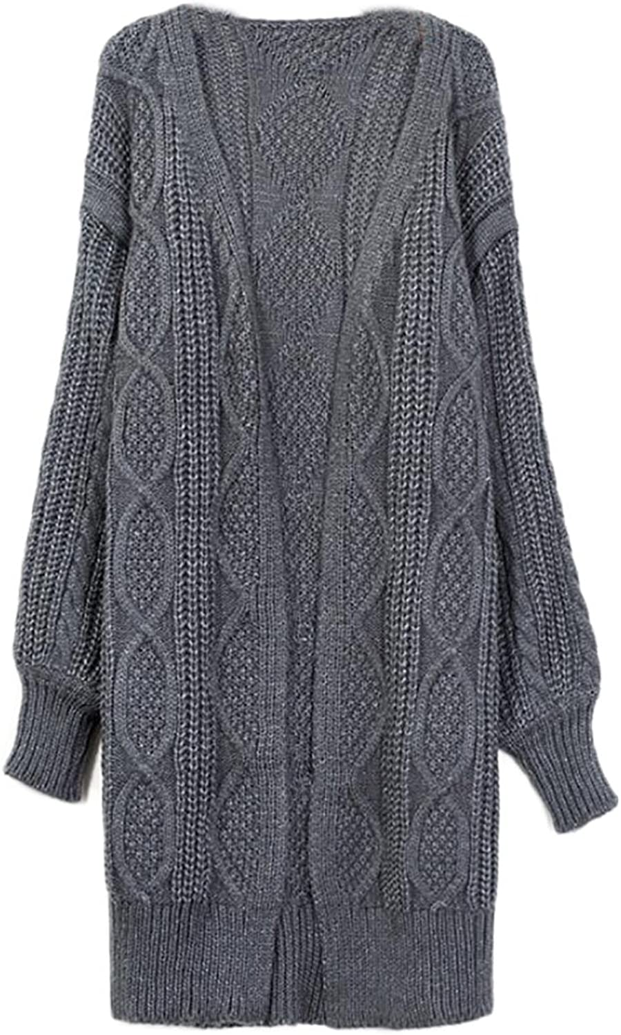 Alion Women's Long Sleeve Plus Size Cable Chunky Front Open Knit Cardigan
