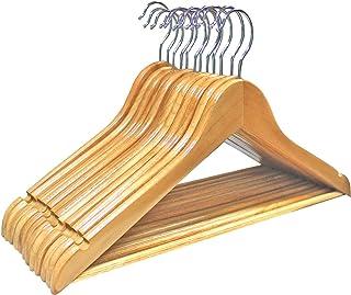 DARUITE 木製ハンガー 衣類ハンガー 洋服ハンガー 肩部分に凹み付き 滑り止め12本組セットワンピース スーツ シャツ コート用 おしゃれ