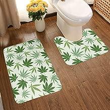 Soft Comfort Flannel Bathroom Mats Hemp Different Leaves Nature Non Slip Bath Mat Washable Entry Rugs 2pcs/Set Carpet Rugs
