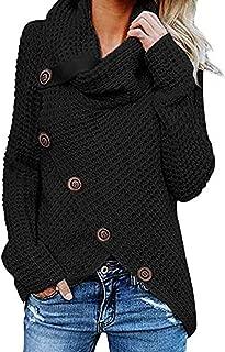 Women's Chunky Turtle Cowl Neck Knit Wrap Asymmetric Hem Sweater Coat with Button Details