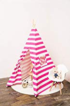 Small Boy Stripe Canvas Play Teepee Tent for Kids 100% Cotton (Pink Stripe)