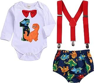 GRNSHTS Baby Birthday Dinosaur Outfits Infant Boy Short Sleeve Gentleman Bodysuit Cake Smash Party Clothes