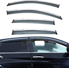 DEAL 4-Piece Set Vent Window Visor With Smoke Chrome Trim, Side Window Rain Guard With Outside Mount Tape-On Type, Custom Fit High-Class Quality For 2012-2016 Honda CRV All Models