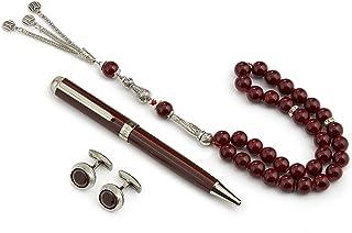 GRYPHON قلم فاخر مع أزرار أكمام وسبحة بني وفضي للرجال