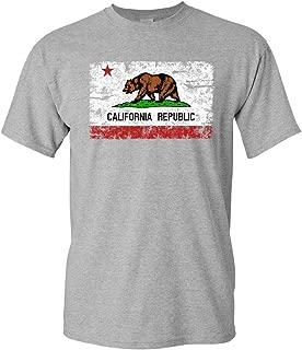 California Republic Flag T-Shirt Cali CA Grizzly Distressed Bear Mens Tee Shirt