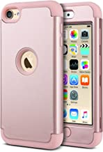 ULAK iPod Touch 7th Generation Case, iPod Touch 6 Case, Heavy Duty Shockproof High Impact Protective Case with Dual Layer Soft Silicone + Hard PC for Apple iPod Touch 7/6/5, Rose Gold