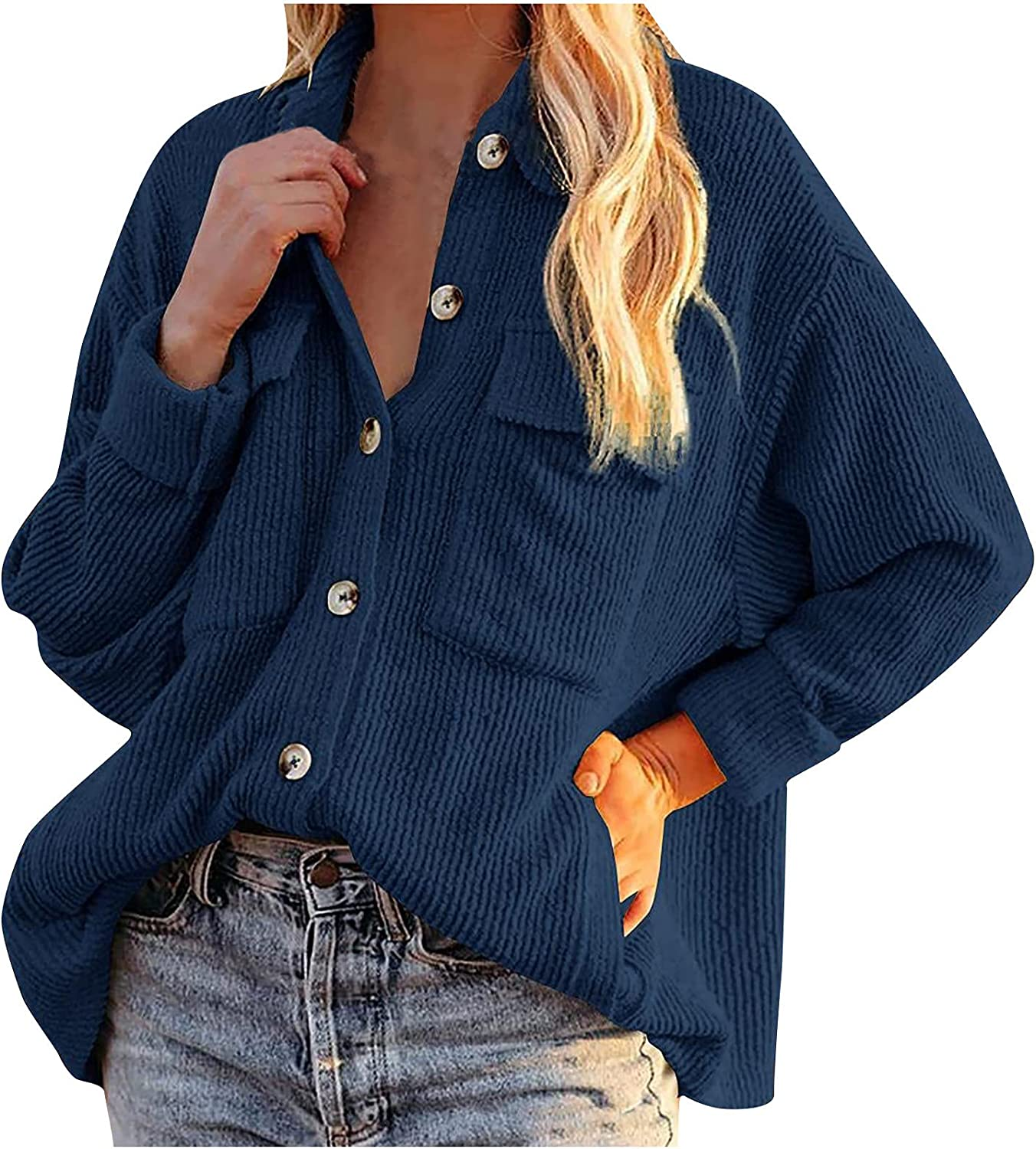 Womens Long Sleeve Tops, Ladies Corduroy Buttoned Cardigan Long Sleeve Lapel Loose Padded Shirt Top
