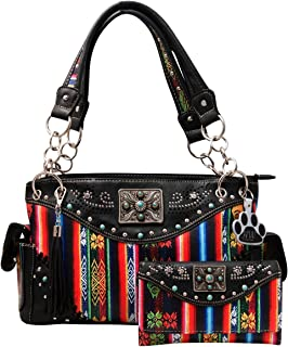 Western Handbag Striped Serape Fringe Carry Conceal Purse Wallet Set