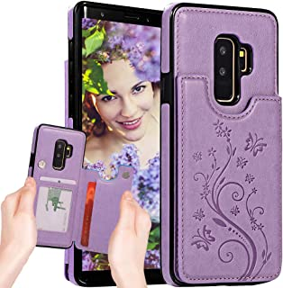 Galaxy S9 Case Wallet,S9 Case with Card Holder,Auker Premium Butterfly Embossed Leather Flip Magnet Back Wallet Case with Money Pocket Folding Stand Protective Purse Case for Women Samsung S9 (Purple)