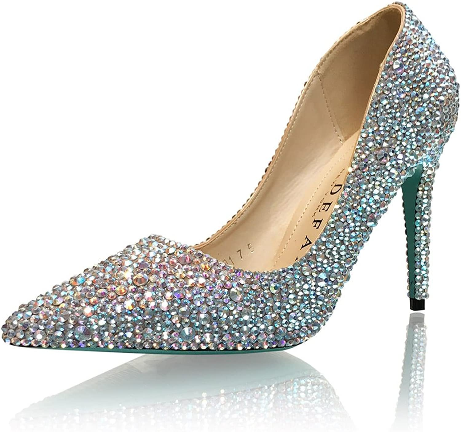 Marc Defang New York Women's 4  Handmade AB Crystals Bridal Something bluee Pointed Pumps