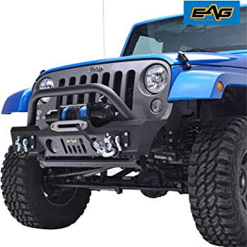 EAG Front Bumper Stubby with Fog Light Hole and Winch Plate Fit for 07-18 Wrangler JK Offroad