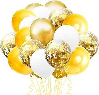 TOPWINRR Decoracion Globos Cumpleaños Ninos Látex Globos Bodas Confeti Adulto Globos Baby Dorados, 60 pack