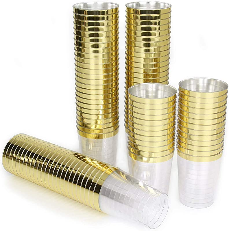 AiKOOL Plastic Cups With Gold Trim 10oz 100 Pack Hard Disposable Clear Cups For Party Or Wedding