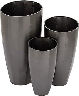 "Benzara Stylish Metal Planter Set of 3, 53359, Iron, Glossy Gray Finish, Set of 3, 30"", 25"" and 20"" H"