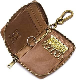 Genuine Leather Zip Around 6 Hook Key Case Car Key Coin Holder Wallet
