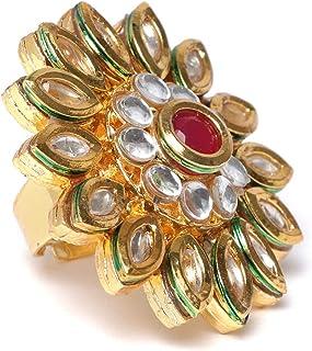 ZAVERI PEARLS Wedding Collection Gold Tone Base Metal Kundan Flower Finger Ring for Women-ZPFK9625