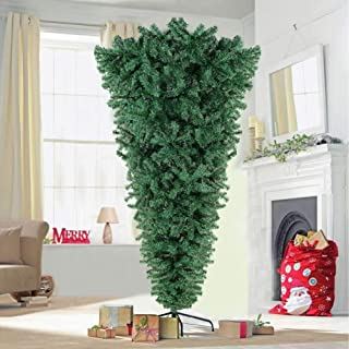 OurWarm 7FT Upside Down Christmas Tree Xmas Pine Tree with 1000 Tips, Artificial Tree for Indoor and Outdoor Christmas Decorations